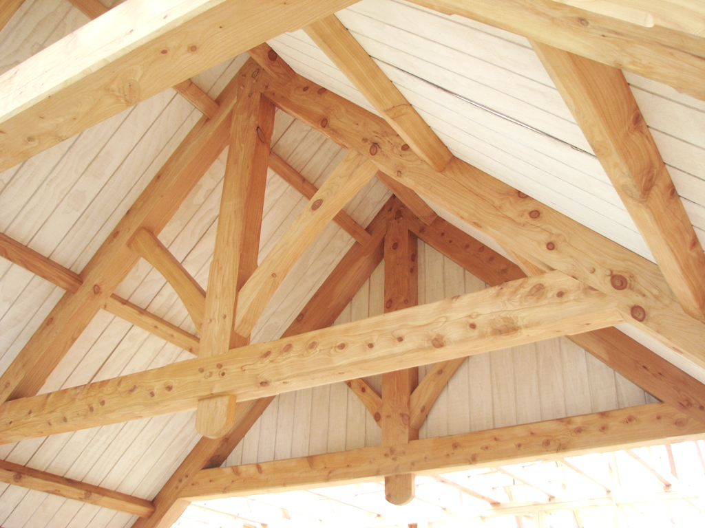 King-post truss, collar-tie beam, raised bottom chord, purlins