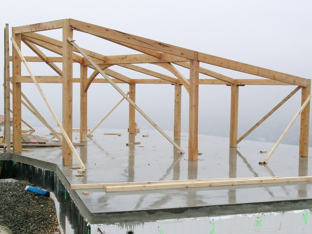 skillion frame, contemporary, mono-pitch, post and beam, rafters ...
