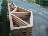 <h5>1 Trusses ready for delivery to site, note the two shapes</h5>