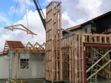 <h5>3. Trusses being lifted into place</h5>