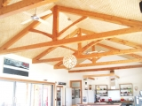 <h5>1. King-Post Trusses in an open plan kitchen/dining room layout</h5>