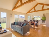 <h5> Feature Trusses in open-plan living</h5>