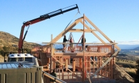 <h5>02. Trusses lifted into place by crane.</h5>