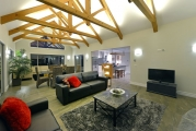 <h5>King post trusses in lounge</h5>