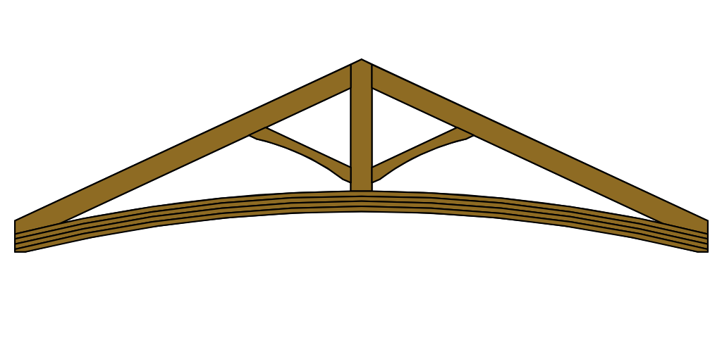 King Post Roof Truss with curved Tie Beam